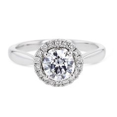Diamond Engagement Semi Mount Round Halo Setting, 14K White Gold Ring