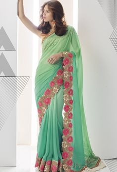 Green Georgette Saree With Embroidery Work..@ fashionsbyindia.com #designs…