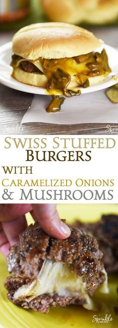 Swiss Stuffed Burgers with Caramelized Onions & Mushrooms ⋆ Sprinkle Some Fun Swiss Stuffed Burgers with Caramelized Onions and Mushrooms are a favorite combo that's taken to the next level. It's a recipe for sharing! Grilling Recipes, Meat Recipes, Dinner Recipes, Cooking Recipes, Barbecue Recipes, Cooking Tips, Lunch Recipes, Caramelized Onions And Mushrooms, Stuffed Mushrooms