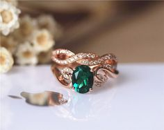 Hey, I found this really awesome Etsy listing at https://www.etsy.com/listing/248155160/unique-6x8mm-oval-emerald-ring-set-solid