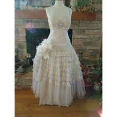 Wedding dress princess ballgown antique lace Fantasy fairy dress ($935) ❤ liked on Polyvore