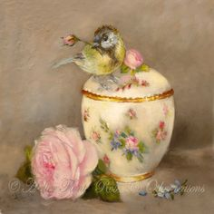 baby Blue-tit Sevres sugar bowl © Original painting by Helen Flont Art Vintage, Vintage Birds, Vintage Images, Vintage Prints, Rose Shabby Chic, Shabby Style, Decoupage, Motifs Animal, Fabric Painting