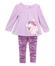 Kids Headquarters Lavender Giraffe Tunic & Leggings - Infant, Toddler & Girls by Kids Headquarters #zulily #zulilyfinds