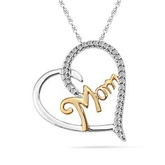 "Diamond Accent Heart-Shaped ""MOM"" Pendant in Two-Tone Sterling Silver"