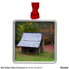 Shop Blue Ridge Cabin Ornament created by Great_Outdoors. Blue Ridge Parkway, Blue Ridge Mountains, Wedding Color Schemes, Wedding Colors, North Carolina Mountains, Autumn Scenery, Hanging Ornaments, Mountain Landscape, Holiday Festival