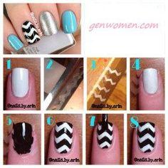How to make chevron nails... http://www.genwomen.com/how-to-make-chevron-nails/