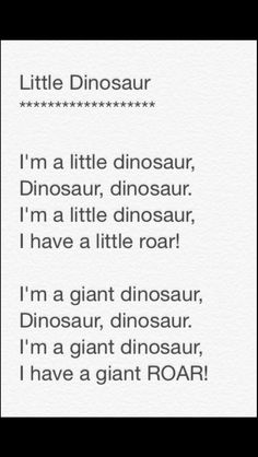 Little Dinosaur song - dino all in all - fun craft Dinosaur Songs For Preschool, Dinosaur Poem, Dinosaur Activities, Preschool Music, Dinosaur Crafts, Preschool Projects, Preschool Learning, Preschool Class, Songs For Toddlers