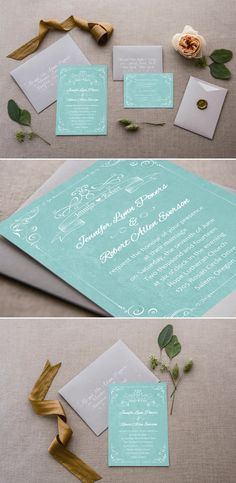 custom chic vintage teal wedding invitations with free rsvp cards