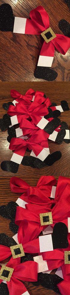 Santa Bows | Click Pic for 20 DIY Christmas Decorations for Home Cheap | DIY Christmas Decorations Dollar Store