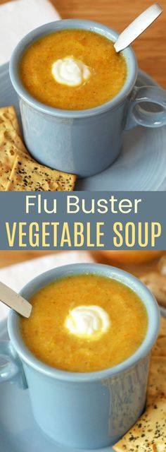 Flu Buster Vegetable Soup - this healthy soup recipe packed with antiviral ingredients is easy comfort food to help you feel better. So creamy but made without cream so it's gluten-free vegan paleo and Whole 30 friendly. Creamy Vegetable Soups, Vegetable Soup Healthy, Veggie Soup, Healthy Vegetables, Kale Soup, Lentil Soup, Vegtable Soup Recipes, Healthy Soup Recipes, Vegetarian Recipes
