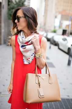 Red dress + silk scarf + sunglasses