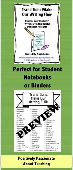 Transition resource with some of the most commonly used transitions. Place at writing station and put in students' binders/notebooks. #writing #transitions www.facebook.com/positivelypassionateaboutteaching