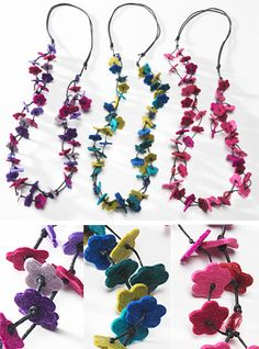 Felt small multi flower necklace