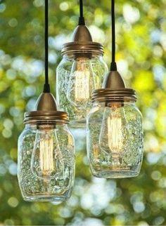 DIY light fixtures out of jars.