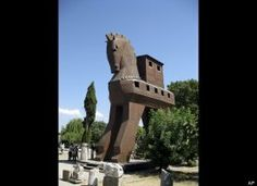 Here is a replica of the legendary Trojan horse as it greets visitors at the entrance of the archaeological site of Troy, TURKEY. Troy is among the most atmospheric sites along Turkey's Aegean coast. (AP Photo/Giovanna Dell'Orto)