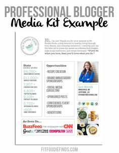 Professional Blogger Media Kit Example via FitFoodieFinds.com
