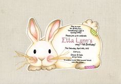 Personalized - Easter - Birthday - Bunny - Party - Invitations - Handcut - Rabbit - Whiskers - Invite - Sara Jane