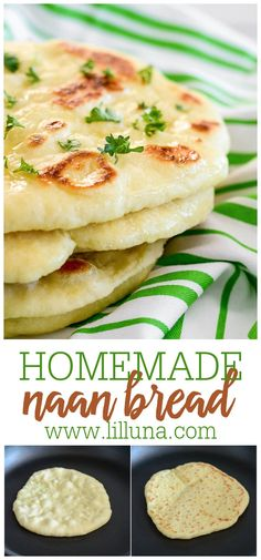 This homemade Naan Bread is soft, chewy, and simply delicious. You won't believe how easy it is to make and will want it as a side to every meal. #naan #naanbread #naanrecipe #bread Homemade Naan Bread, Recipes With Naan Bread, Artisan Bread Recipes, Best Bread Recipe, Indian Food Recipes, Vegetarian Recipes, Cooking Recipes, Healthy Recipes, Bread Substitute