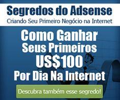 O Segredos do Adsense é um curso completamente em vídeo explicando como criar negócios digitais e ganhar pelo menos US$ 100,00 por Dia!!! (45) 9990-0642 Cascavel Paraná