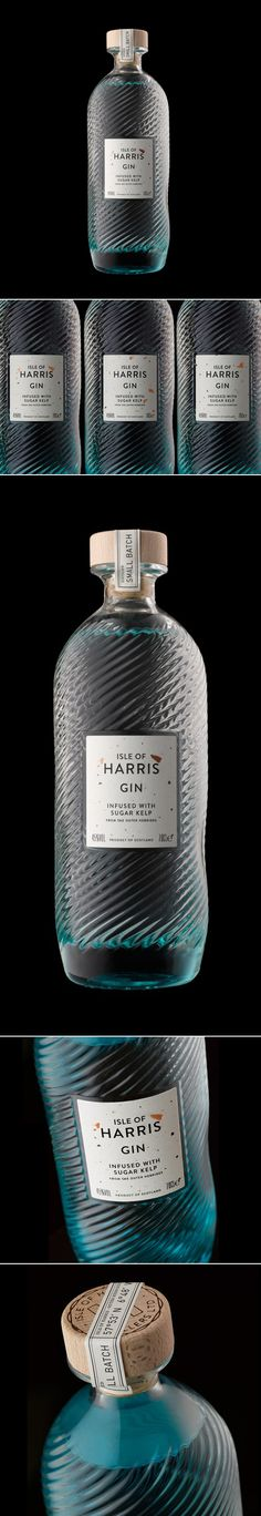 I like this gin bottle and the effects on it. it also dont look like a gin bottle Cool Packaging, Beverage Packaging, Bottle Packaging, Brand Packaging, Design Packaging, Coffee Packaging, Packaging Ideas, Isle Of Harris Gin, Liquor Bottles