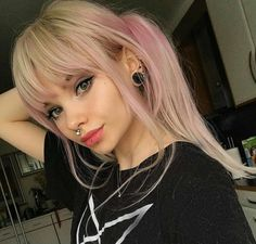➢ StonexoxStone ➢ Instagram | Pinterest Blonde Goth, Blonde Bangs, Dyed Bangs, Dyed Hair, Blonde Hair, Long Hairstyle, Short Fringe Hairstyles, Bangs Hairstyles Sideswept, Trendy Hairstyles
