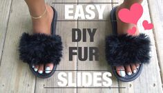 "Képtalálat a következőre: ""diy furry slides"" Fuzzy Slides, Faux Fur Slides, Fashion Tips For Women, Diy Fashion, Diy Slides, Christmas Shirts, Diy Christmas, Easy Diy, Olive Green"
