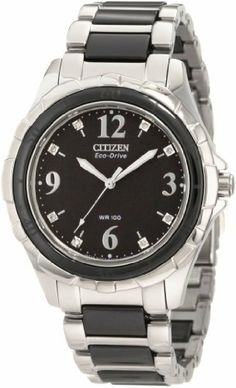 Citizen Women's EM0031-56E Ceramic Eco-Drive  Watch Citizen. $337.50. Stainless steel and ceramic. Eco-drive. Mineral glass crystal. Water-resistant to 100 M (330 feet). Diamond accented dial. Save 25% Off!
