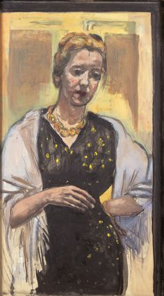 Marie Louise Motesicky. Self-Portrait in Black. 1959. Oil, charcoal and pastel on canvas, 105.6 x 59 cm | Galerie St. Etienne