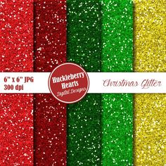 80% OFF SALE Digital Glitter Paper Christmas by HuckleberryHearts