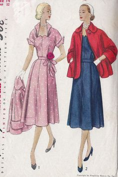 Vintage 1950's Misses Maternity Dress  And Jacket Pattern, Simplicity 8448. $12.00, via Etsy.
