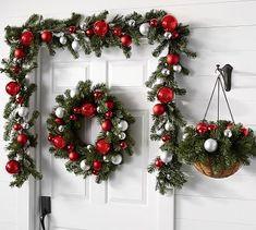 Ornament Pine Home Decor Collection - Red & Silver - Christmas Wreaths Garland. Silver Christmas Decorations, Christmas Centerpieces, Diy Christmas Ornaments, Tree Decorations, Christmas Wreaths, Christmas Villages, Vintage Ornaments, Vintage Santas, Christmas Door