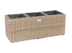 Square Resin Wicker Planter Pots  with 3 Plastic Inlays - MS111