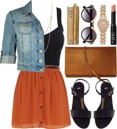Love the skirt & jean jacket