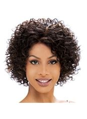 Cheap Short Curly Brown African American Lace Wigs for Women 10 Inch