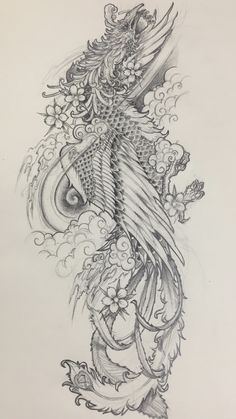 Japanese tattoo design Phoenix by Kingston Chan Jessi West. - Japanese tattoo design Phoenix by Kingston Chan Jessi West. Foo Dog Tattoo Design, Japan Tattoo Design, Tattoo Design Drawings, Tattoo Sleeve Designs, Sleeve Tattoos, Feniks Tattoo, Hannya Mask Tattoo, Calf Tattoo, Japanese Phoenix Tattoo