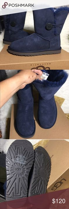 UGG authentic Bailey button navy boots Sz 7 new UGG authentic Bailey button navy boots Sz 7 new 100% authentic. QR READER SCANNABLE TAG FOR AUTHENTICITY. Authenticity guaranteed and I keep proof of purchase from Ugg to prove authenticity. Style #5803 color navy . Itemcloset#6do UGG Shoes