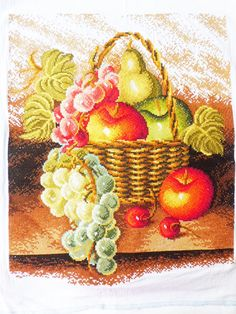 New Finished Cross Stitch Oil Painting Fruit Basket Design Image Size:15*18inch