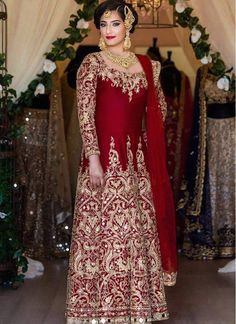 Shop Online Red Banglori Silk #LongLengthSalwarSuits @chennaistore.com