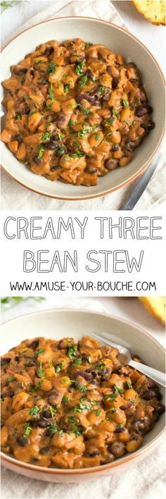 Creamy three bean stew - healthy comfort food! This stew is totally vegetarian, but is still really high in protein, and the sauce is really rich and creamy. So yum!
