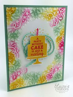 Party Wishes Birthday Card with Cake! Stampin' Up!   Elaine's Creations