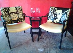 Frankenstein and Bride of Frankenstein Chair set ,and small table as pictured