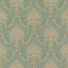 Floral bouquet damask green 514988 behang Elegance and Tradition VI Rasch Damask Wallpaper, New Wallpaper, Designer Wallpaper, Wallpaper Designs, Cushions Online, Shabby, Floral Bouquets, Retro, Fabric Patterns