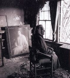 Edie amid the decay of the house, with a portrait of her younger self - Grey Gardens