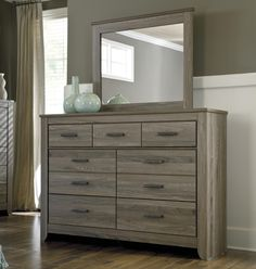 online shopping for Ashley Furniture Signature Design - Zelen Dresser & Mirror - 7 Drawer Bureau - Warm Gray from top store. See new offer for Ashley Furniture Signature Design - Zelen Dresser & Mirror - 7 Drawer Bureau - Warm Gray Home Decor Bedroom, Bedroom Furniture Sets, Wood Bedroom Furniture, Distressed Bedroom Furniture, Furniture, Home, Wood Bedroom, Home Furniture, Bedroom Dressers