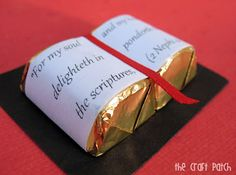 Two little Hershey's Chocolates attached to a black piece of paper...print verse out and attach to wrappers to look like the Bible! Add a piece of red ribbon for the bookmark! Such a cute idea!