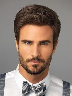 Men's Wigs - Style Men's Wig by HairUWear can be styled spiked up or slicked back. This short haircut is modern and easy to wear and can be styled with heat. Medium Hair Styles, Curly Hair Styles, Natural Hair Styles, Popular Haircuts, Haircuts For Men, Men's Haircuts, Haircut Men, Waves Haircut, Lob Haircut