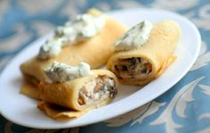 Pancakes with chicken, mushrooms and cheese