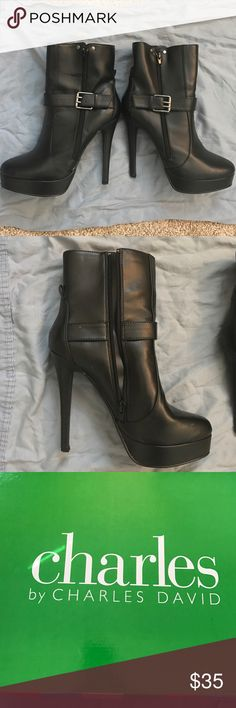 Pair of Charles by Charles David Size 7 1/2 Heels Almost brand new pair of Charles by Charles David heels.  This pair is size 7 1/2 and zips up the side. Comes with the original box. Charles David Shoes Heeled Boots