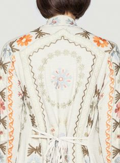 Back Detail: Johnny Was Biya Embroidered Natural Pom Wrap #embroidery #design #decorative #border
