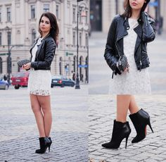 LACE DRESS & LEATHER JACKET (by A piece of Anna .) http://lookbook.nu/look/4674701-LACE-DRESS-LEATHER-JACKET